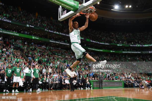 Avery Bradley of the Boston Celtics dunks the ball against the Washington Wizards during Game Five of the Eastern Conference Semifinals of the 2017...