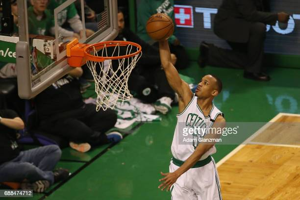 Avery Bradley of the Boston Celtics dunks the ball in the first half against the Cleveland Cavaliers during Game Five of the 2017 NBA Eastern...
