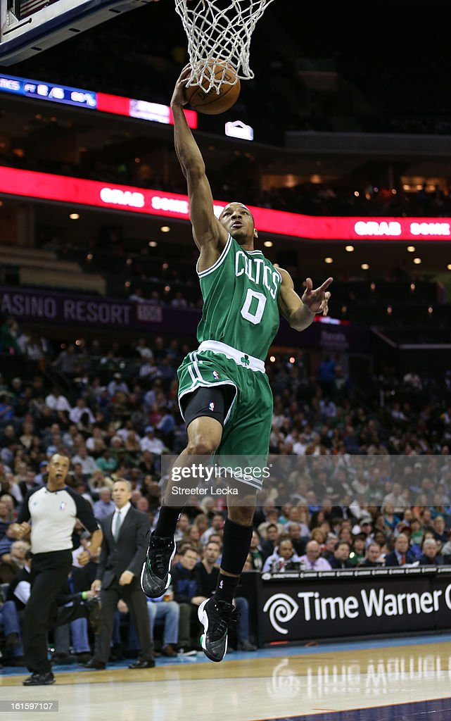 Avery Bradley #0 of the Boston Celtics during their game at Time Warner Cable Arena on February 11, 2013 in Charlotte, North Carolina.