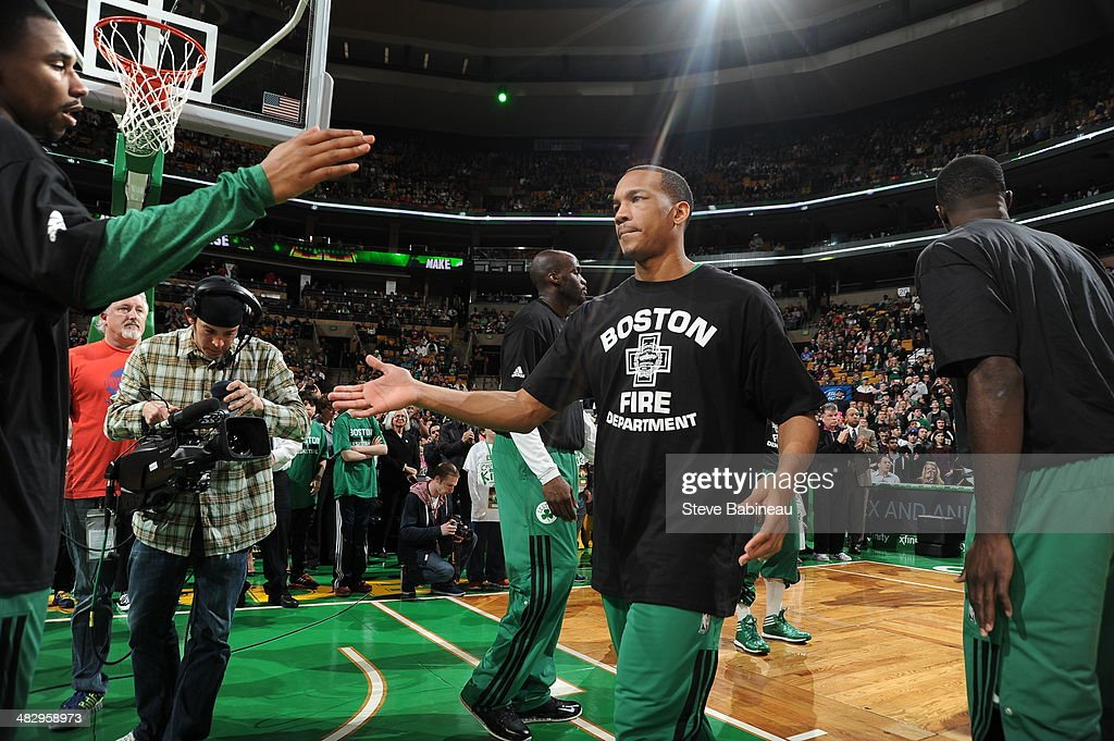 Avery Bradley #0 of the Boston Celtics gets introduced before a game against the Chicago Bulls on March 30, 2014 at the TD Garden in Boston, Massachusetts.