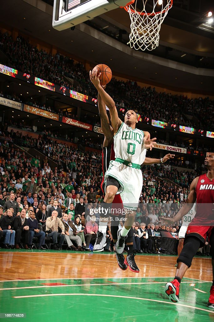<a gi-track='captionPersonalityLinkClicked' href=/galleries/search?phrase=Avery+Bradley&family=editorial&specificpeople=5792051 ng-click='$event.stopPropagation()'>Avery Bradley</a> #0 of the Boston Celtics glides to the basket against the Miami Heat during a game on March 18, 2013 at TD Garden in Boston, Massachusetts.