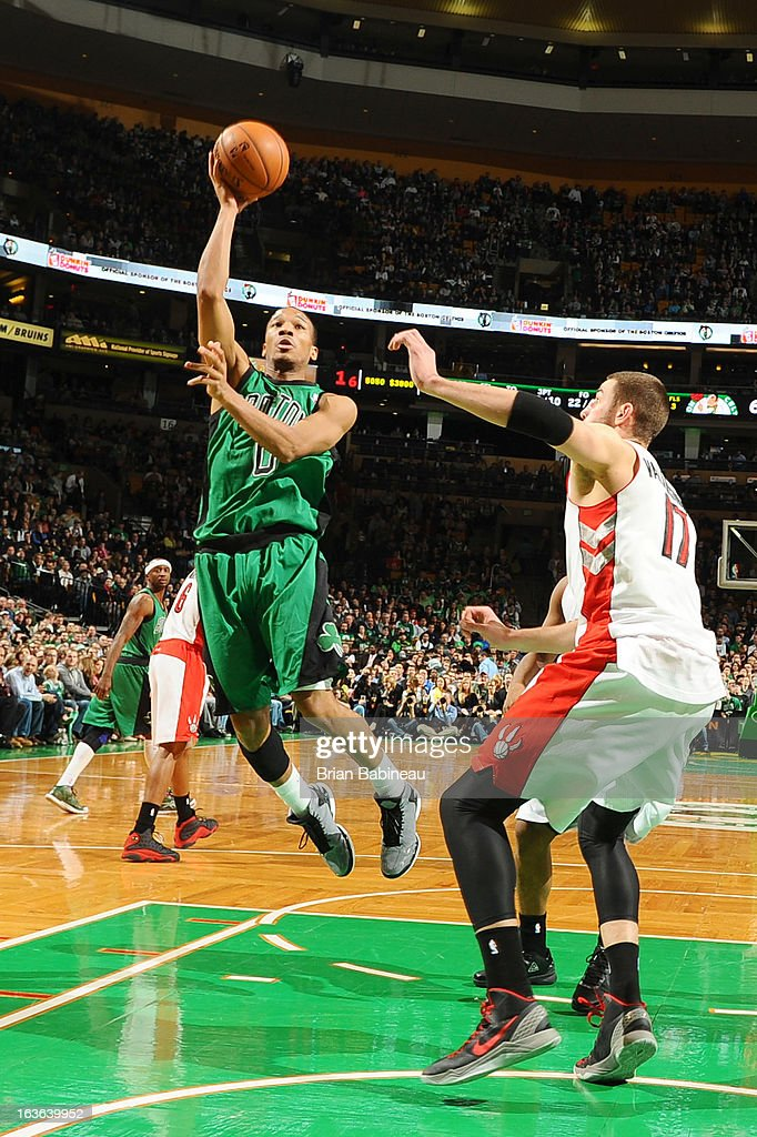 Avery Bradley #0 of the Boston Celtics goes to the basket against the Toronto Raptors on March 13, 2013 at the TD Garden in Boston, Massachusetts.