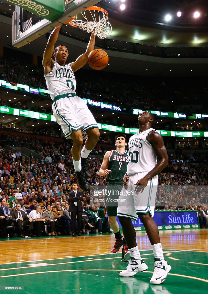 <a gi-track='captionPersonalityLinkClicked' href=/galleries/search?phrase=Avery+Bradley&family=editorial&specificpeople=5792051 ng-click='$event.stopPropagation()'>Avery Bradley</a> #0 of the Boston Celtics goes up for a dunk in the first half against the Milwaukee Bucks during the home opener at TD Garden on November 1, 2013 in Boston, Massachusetts.