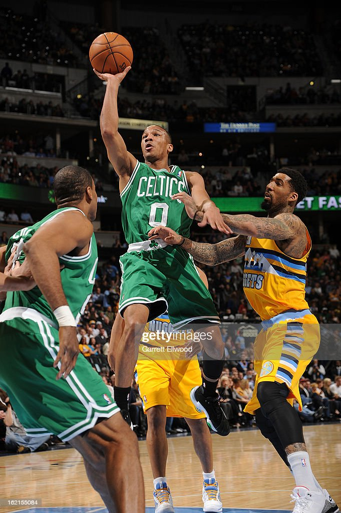 Avery Bradley #0 of the Boston Celtics goes up for a shot versus the Denver Nuggets on February 19, 2013 at the Pepsi Center in Denver, Colorado.