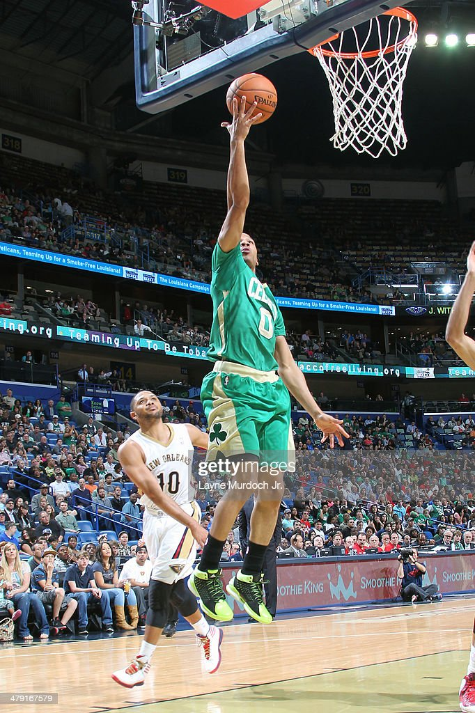 <a gi-track='captionPersonalityLinkClicked' href=/galleries/search?phrase=Avery+Bradley&family=editorial&specificpeople=5792051 ng-click='$event.stopPropagation()'>Avery Bradley</a> #0 of the Boston Celtics goes up for the layup against the New Orleans Pelicans during an NBA game on March 16, 2014 at the Smoothie King Center in New Orleans, Louisiana.