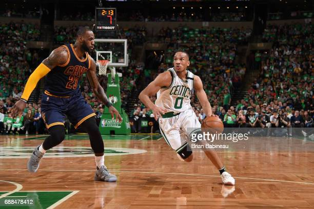 Avery Bradley of the Boston Celtics handles the ball against the Cleveland Cavaliers in Game Five of the Eastern Conference Finals of the 2017 NBA...