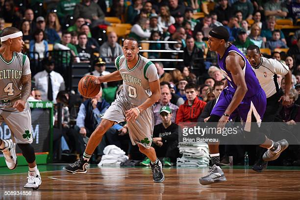Avery Bradley of the Boston Celtics handles the ball during the game against the Sacramento Kings on February 7 2016 at the TD Garden in Boston...