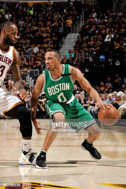 Avery Bradley of the Boston Celtics handles the ball during the game against the Cleveland Cavaliers in Game Four of the Eastern Conference Finals of...