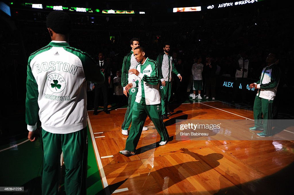 <a gi-track='captionPersonalityLinkClicked' href=/galleries/search?phrase=Avery+Bradley&family=editorial&specificpeople=5792051 ng-click='$event.stopPropagation()'>Avery Bradley</a> #0 of the Boston Celtics is introduced before the game against the Memphis Grizzlies on November 27, 2013 at the TD Garden in Boston, Massachusetts.