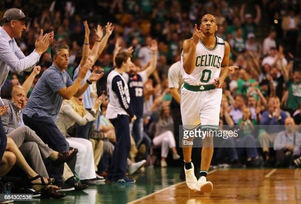 Avery Bradley of the Boston Celtics reacts in the first half against the Cleveland Cavaliers during Game One of the 2017 NBA Eastern Conference...