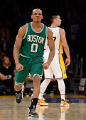 Avery Bradley of the Boston Celtics reacts to his buzzer beating three pointer to send the game into over time during a 118111 Laker win at Staples...