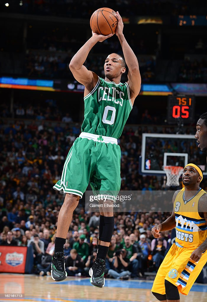 Avery Bradley #0 of the Boston Celtics shoots a jumper against the Denver Nuggets on February 19, 2013 at the Pepsi Center in Denver, Colorado.