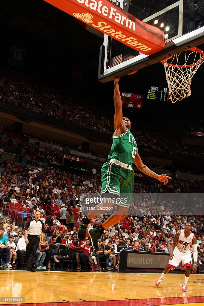 Avery Bradley #0 of the Boston Celtics shoots against the Miami Heat on November 9, 2013 at American Airlines Arena in Miami, Florida.