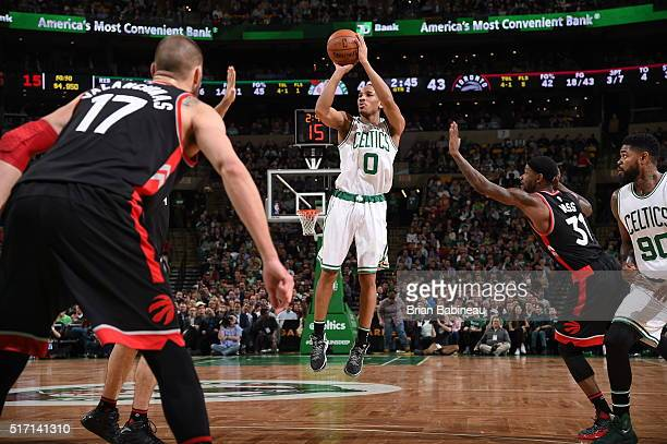 Avery Bradley of the Boston Celtics shoots against the Toronto Raptors on March 23 2016 at the TD Garden in Boston Massachusetts NOTE TO USER User...