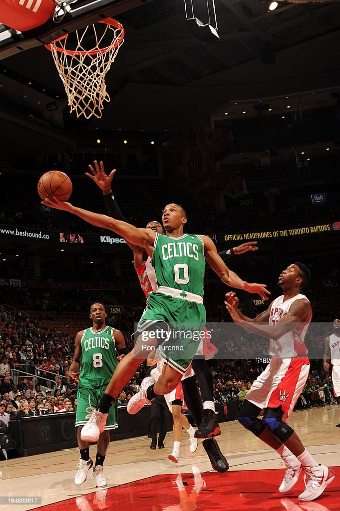 <a gi-track='captionPersonalityLinkClicked' href=/galleries/search?phrase=Avery+Bradley&family=editorial&specificpeople=5792051 ng-click='$event.stopPropagation()'>Avery Bradley</a> #0 of the Boston Celtics shoots against the Toronto Raptors during the game on October 16, 2013 at the Air Canada Centre in Toronto, Ontario, Canada.