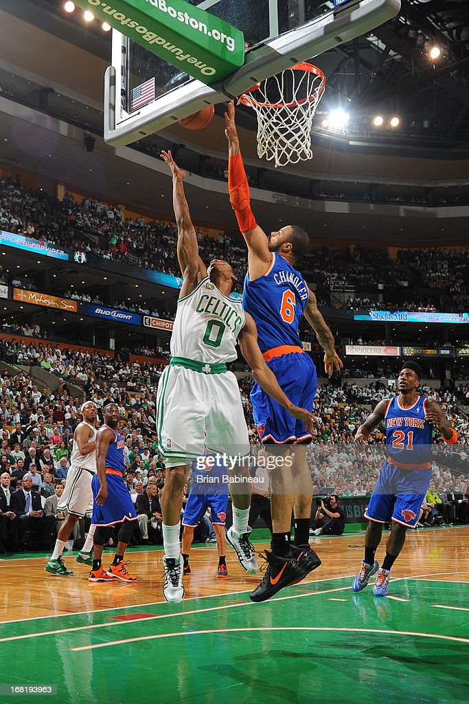 Avery Bradley #0 of the Boston Celtics shoots against Tyson Chandler #6 of the New York Knicks during Game Six of the Eastern Conference Quarterfinals on May 3, 2013 at the TD Garden in Boston, Massachusetts.