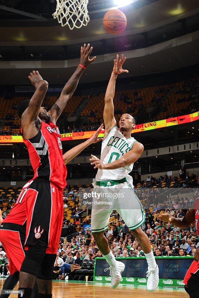 Avery Bradley #0 of the Boston Celtics shoots the ball against the Toronto Raptors on October 7, 2013 at the TD Garden in Boston, Massachusetts.
