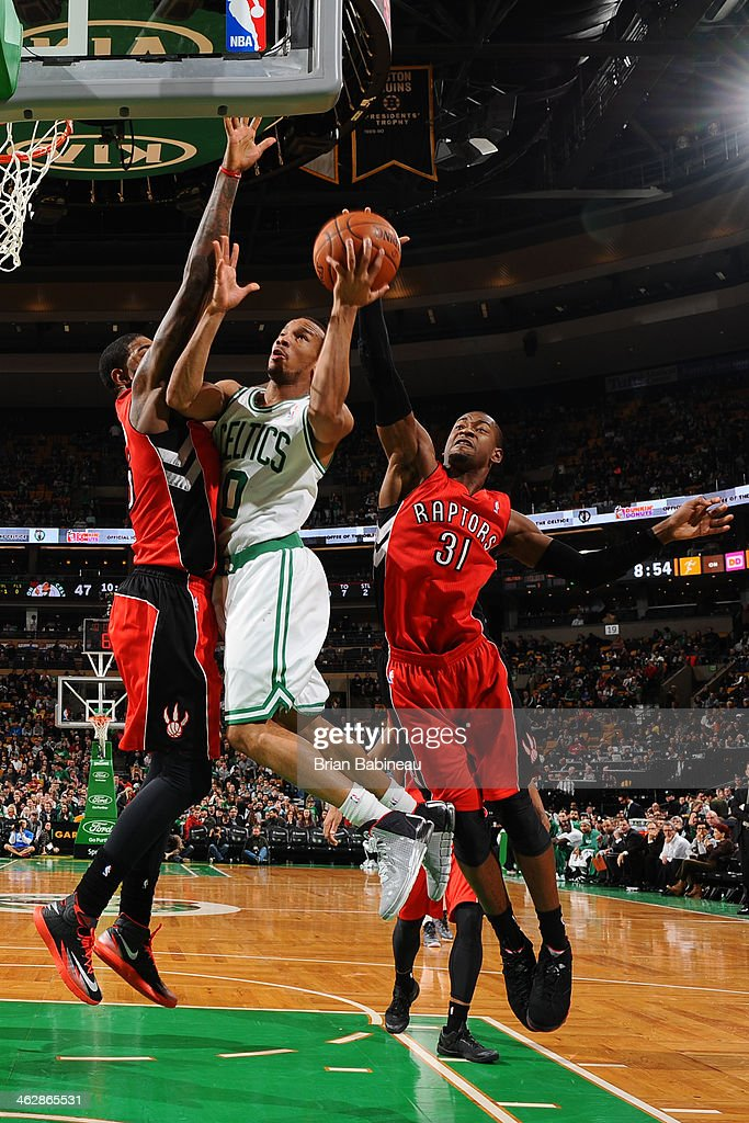 <a gi-track='captionPersonalityLinkClicked' href=/galleries/search?phrase=Avery+Bradley&family=editorial&specificpeople=5792051 ng-click='$event.stopPropagation()'>Avery Bradley</a> #0 of the Boston Celtics shoots the ball against the Toronto Raptors on January 15, 2014 at the TD Garden in Boston, Massachusetts.