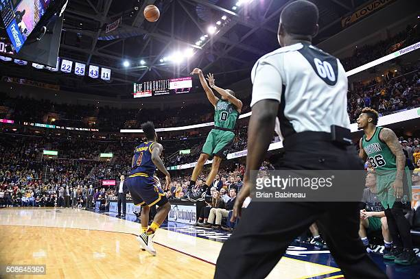 Avery Bradley of the Boston Celtics shoots the three point shot that wins the game against the Cleveland Cavaliers on February 5 2016 at Quicken...