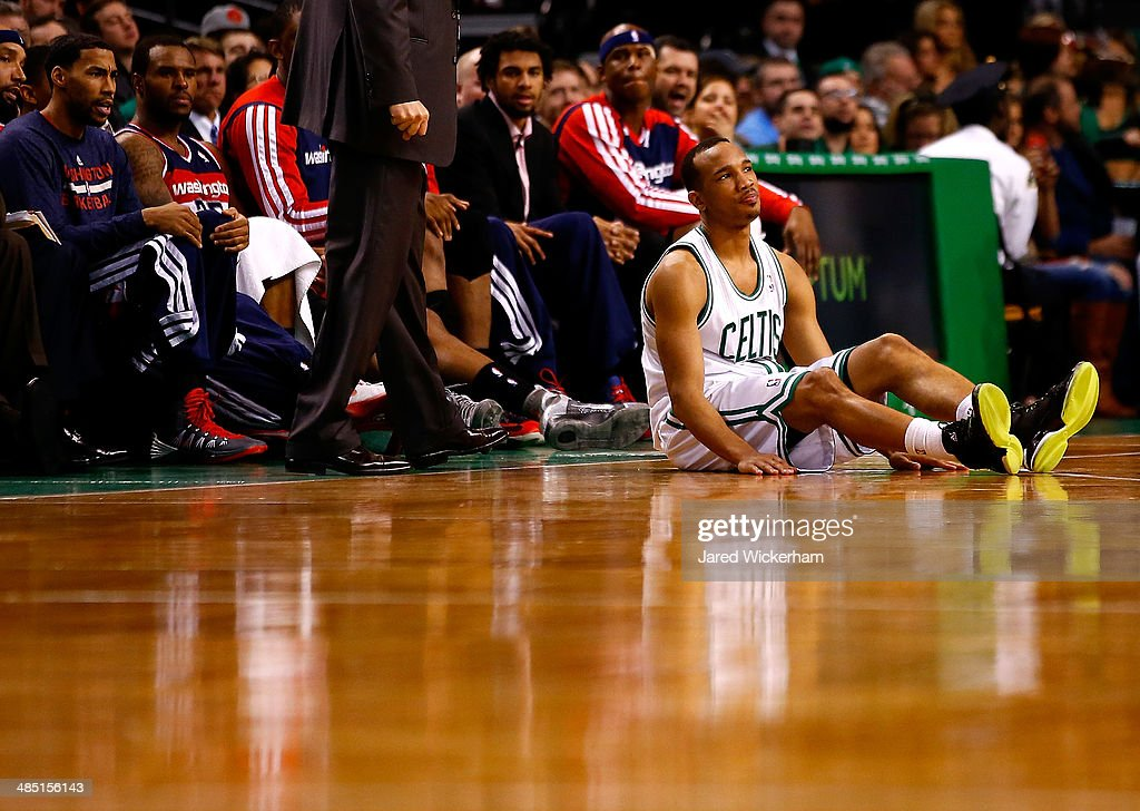 Avery Bradley #0 of the Boston Celtics sits on the court after losing posession of the ball against the Washington Wizards in the second half during the game at TD Garden on April 16, 2014 in Boston, Massachusetts.