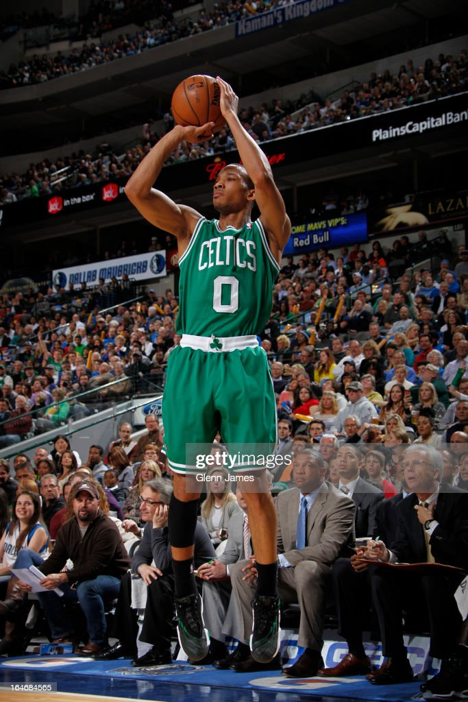 <a gi-track='captionPersonalityLinkClicked' href=/galleries/search?phrase=Avery+Bradley&family=editorial&specificpeople=5792051 ng-click='$event.stopPropagation()'>Avery Bradley</a> #0 of the Boston Celtics takes a shot against the Dallas Mavericks on March 22, 2013 at the American Airlines Center in Dallas, Texas.