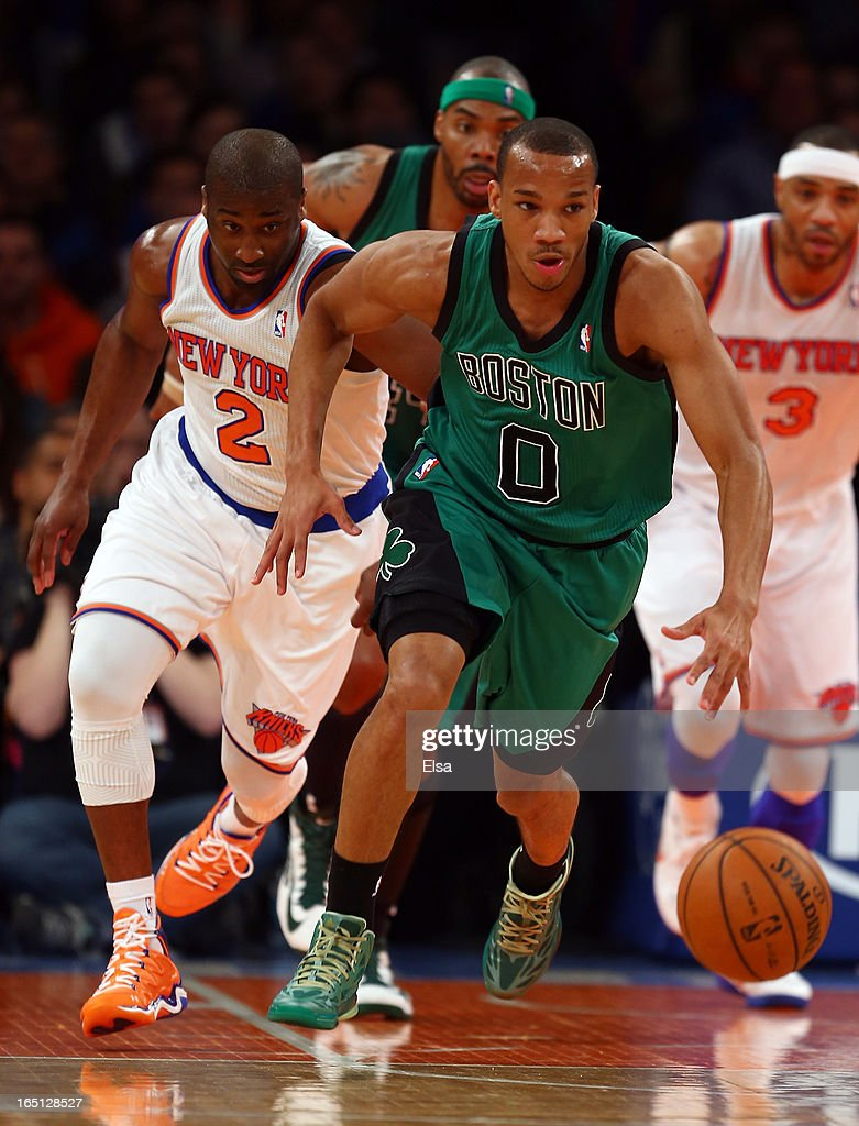 Avery Bradley #0 of the Boston Celtics takes the ball as Raymond Felton #2 of the New York Knicks defends on March 31, 2013 at Madison Square Garden in New York City.