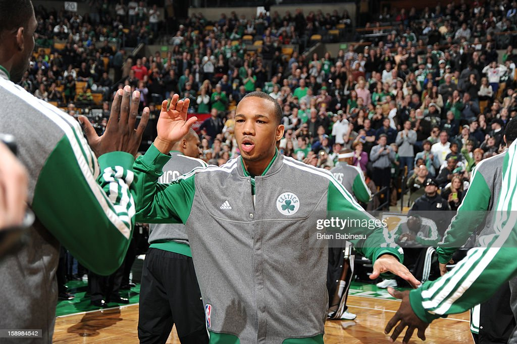 Avery Bradley #0 of the Boston Celtics takes the court before the game against the Indiana Pacers on January 4, 2013 at the TD Garden in Boston, Massachusetts.