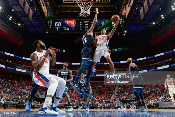Avery Bradley of the Detroit Pistons drives to the basket against the Minnesota Timberwolves on October 25 2017 at Little Caesars Arena in Detroit...