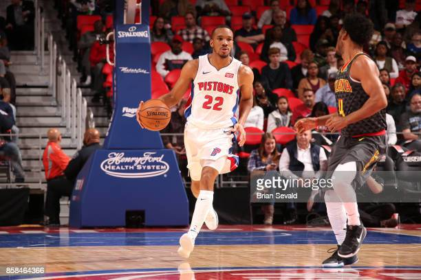 Avery Bradley of the Detroit Pistons handles the ball against the Atlanta Hawks on October 6 2017 at Little Caesars Arena in Detroit Michigan NOTE TO...
