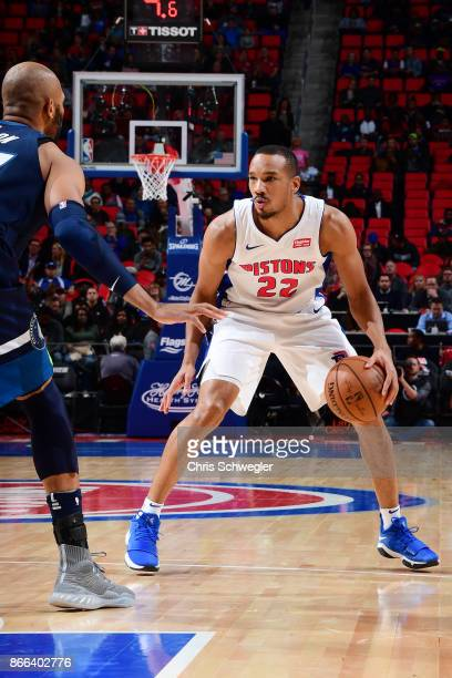 Avery Bradley of the Detroit Pistons handles the ball against the Minnesota Timberwolves on October 25 2017 at Little Caesars Arena in Detroit...