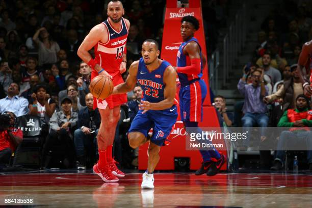 Avery Bradley of the Detroit Pistons handles the ball during game against the Washington Wizards on October 20 2017 at Capital One Arena in...
