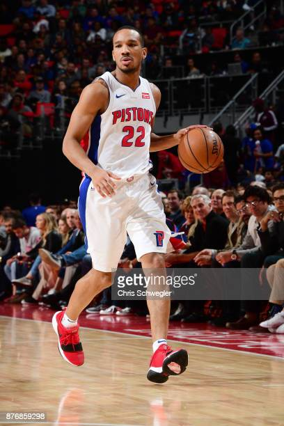 Avery Bradley of the Detroit Pistons moves the ball down court against the Cleveland Cavaliers on November 20 2017 at Little Caesars Arena in Detroit...