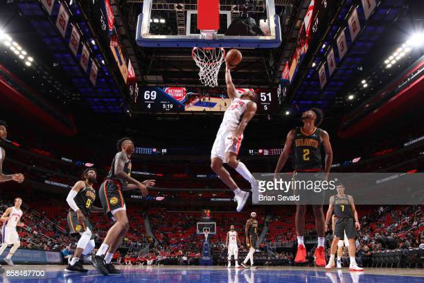 Avery Bradley of the Detroit Pistons shoots a lay up against the Atlanta Hawks on October 6 2017 at Little Caesars Arena in Detroit Michigan NOTE TO...