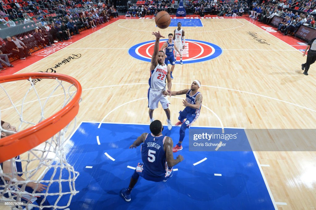 Avery Bradley #22 of the Detroit Pistons shoots against the Philadelphia 76ers on October 23, 2017 at Little Caesars Arena in Detroit, Michigan.