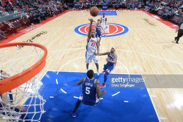 Avery Bradley of the Detroit Pistons shoots against the Philadelphia 76ers on October 23 2017 at Little Caesars Arena in Detroit Michigan NOTE TO...
