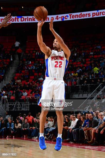 Avery Bradley of the Detroit Pistons shoots the ball against the Minnesota Timberwolves on October 25 2017 at Little Caesars Arena in Detroit...