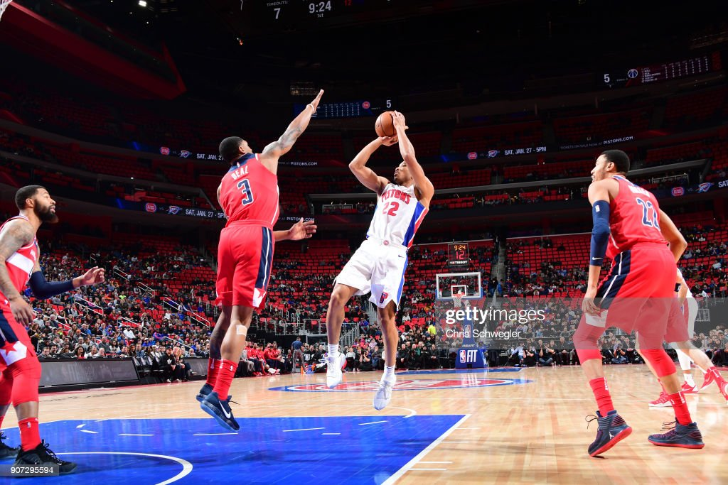 Avery Bradley #22 of the Detroit Pistons shoots the ball against the Washington Wizards on January 19, 2018 at Little Caesars Arena in Detroit, Michigan.