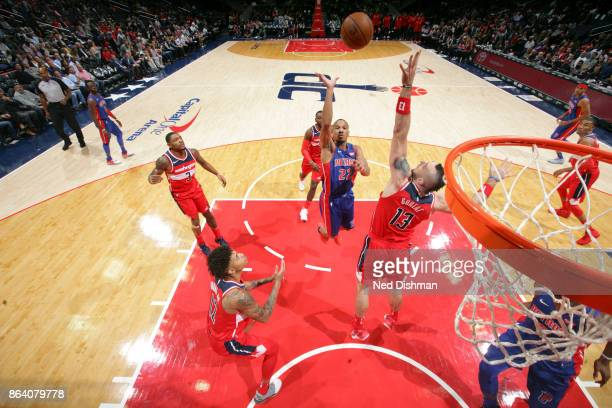 Avery Bradley of the Detroit Pistons shoots the ball during game against the Washington Wizards on October 20 2017 at Capital One Arena in Washington...