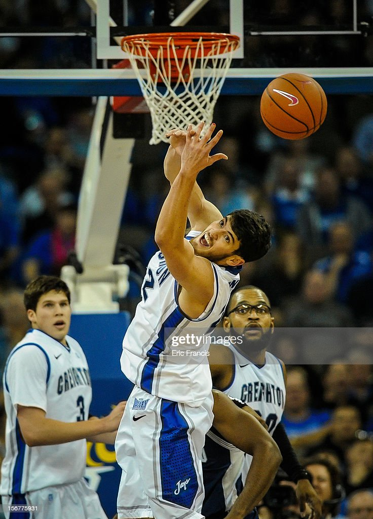 Avery Dingman #22 of the Creighton Bluejays reaches for a rebound during their game against the Longwood Lancers at CenturyLink Center on November 20, 2012 in Omaha, Nebraska.