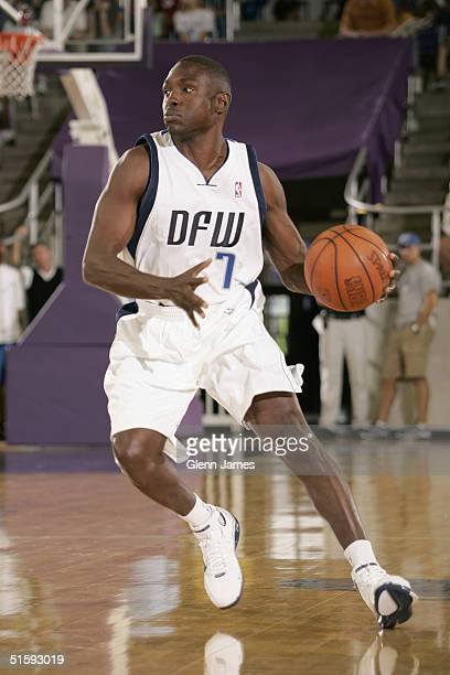 Avery Johnson of the Dallas Mavericks looks crosscourt during an intrasquad exhibition at the Mavs Fan Jam on October 9 2004 at Texas Christian...