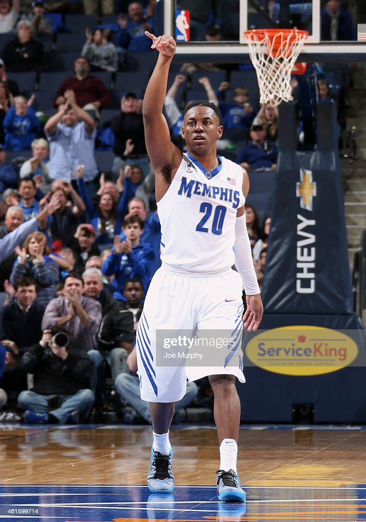 Avery Woodson of the Memphis Tigers celebrates a 3 point shot against the Cincinnati Bearcats on January 15 2015 at FedExForum in Memphis Tennessee...