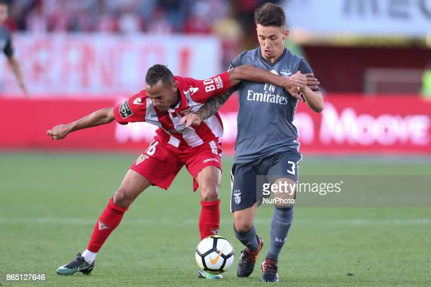 Ave´s player Petrolina with Benfica's Spanish defender Alex Grimaldo during the Premier League 2017/18 match between CD Aves and SL Benfica at...