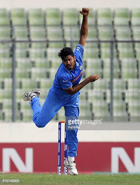 Avesh Khan of India bowls during the ICC U19 World Cup Final Match between India and West Indies on February 14 2016 in Dhaka Bangladesh
