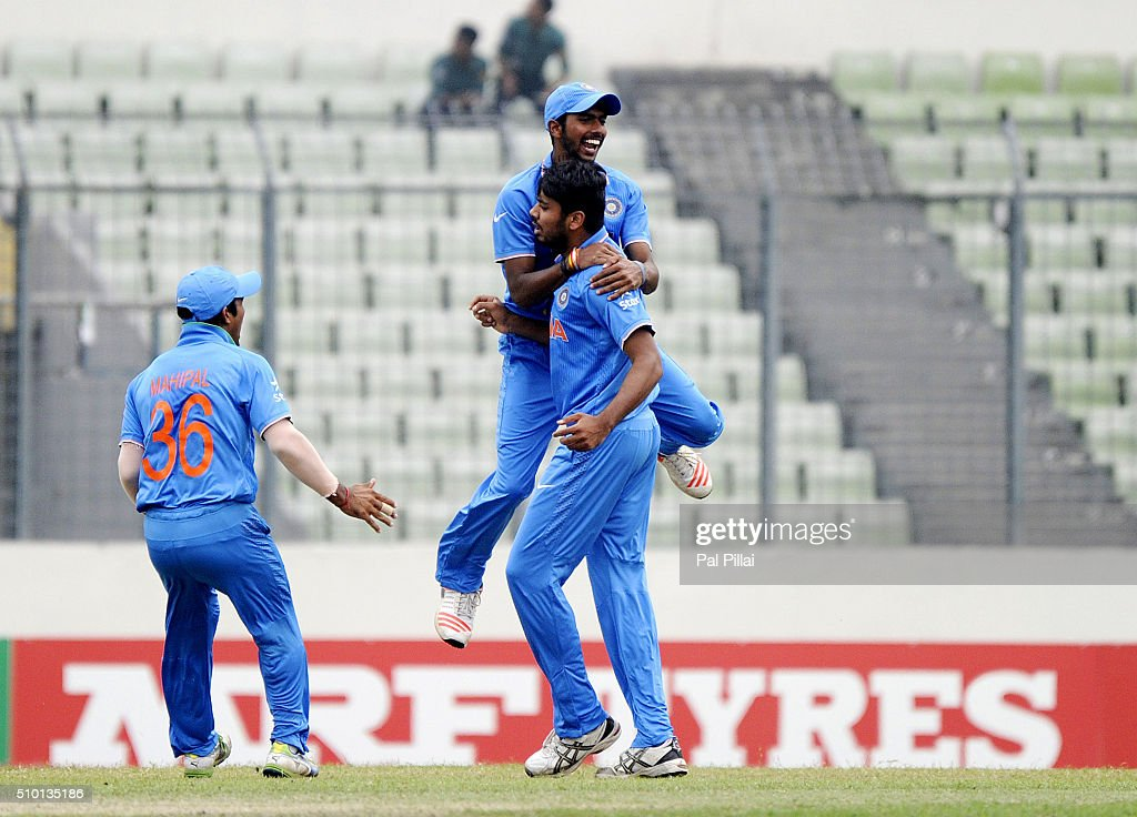 Avesh Khan of India celebrates the wicket of Gidron Pope of West Indies U19 during the ICC U19 World Cup Final Match between India and West Indies on February 14, 2016 in Dhaka, Bangladesh.