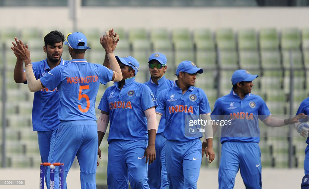 Avesh Khan of India celebrates the wicket of Vishad Randika of Sri Lanka during the ICC U19 World Cup Semi-Final match between India and Sri Lanka on February 9, 2016 in Dhaka, Bangladesh.