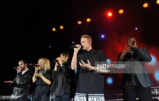 Avi Kaplan Kirstie Maldonado Scott Hoying Mitch Grassi and Kevin Olusola of Pentatonix perform on stage at the Eventim Apollo on April 30 2015 in...