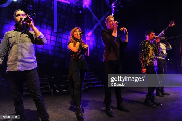 Avi Kaplan Kirstie Maldonado Scott Hoying Mitch Grassi and Kevin Olusola of Pentatonix perform on stage at Shepherds Bush Empire on April 24 2014 in...