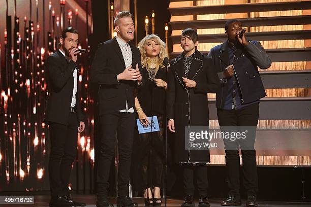 Avi Kaplan Kirstie Maldonado Scott Hoying Mitch Grassi and Kevin Olusola of Penatonix attend the 49th annual CMA Awards at the Bridgestone Arena on...