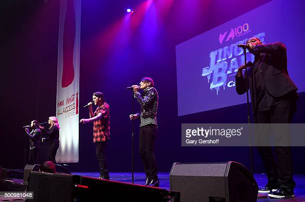 Avi Kaplan Kirstie Maldonado Scott Hoying Mitch Grassi and Kevin Olusola of Pentatonix perform onstage at Z100's Jingle Ball 2015 Z100 CocaCola All...