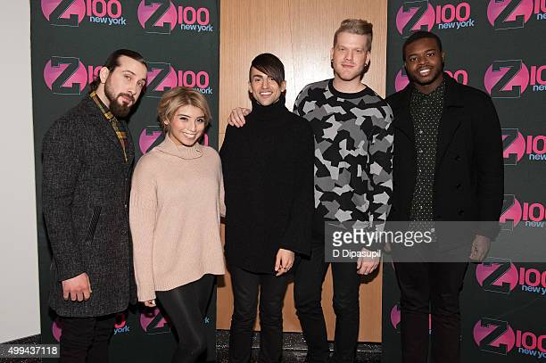 Avi Kaplan Kirstin Maldonado Mitch Grassi Scott Hoying and Kevin Olusola of Pentatonix visit 'The Elvis Duran Z100 Morning Show' at One World...